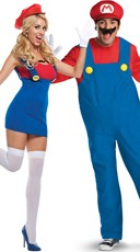 Deluxe Red Plumbers Couples Costume