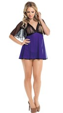 Plus Size Mesh and Lace Babydoll with Shawl and G-String