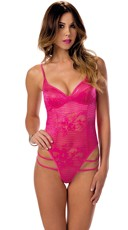 Lacy Fuchsia Double Strap G-String Teddy