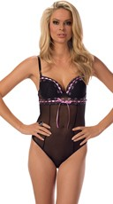 Sheer Black Teddy with Satin Lilac Ribbon