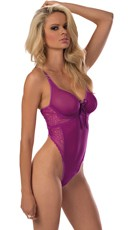 Underwire Orchid Teddy with Waist High Hemline