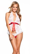 Ribbon Front Halter and Crotchless Panty