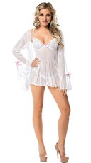 White Dot Mesh Babydoll and Robe