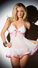 Sheer Chemise with Satin Trim