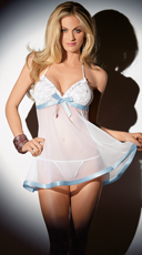 Sheer Babydoll with Blue Satin Trim