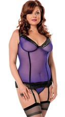 Plus Size Lace Trimmed Mesh Bustier Set