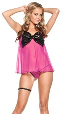 Sequin Bow Front Baby Doll and G-String