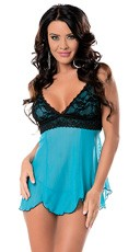 Lace Overlay Scallop Babydoll