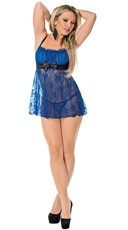 Royal Blue Satin And Lace Babydoll