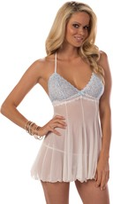 Soft Cup White and Blue Babydoll Set