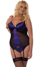 Plus Size Contrasting Black Mesh and Satin Bustier Set