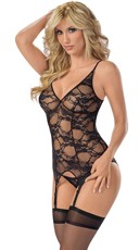 Lacy Bustier Set with Attached Garters