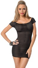 Sheer Exposure Striped Black Mini Dress