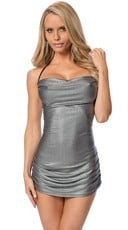 Sexy Metallic Ruched Mini Dress