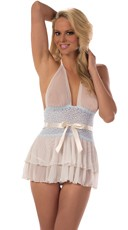 Ruffled Halter Babydoll with Blue Lace