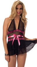 Pink Floral and Black Mesh Halter Babydoll Set