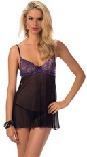 Purple Lace and Black Mesh Babydoll Set