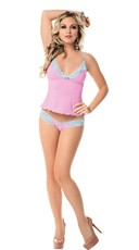 Pink Mesh and Blue Lace Cami Set