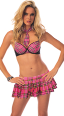 Pink Plaid School Girl Lingerie Costume