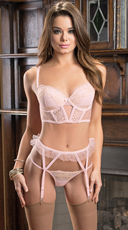 Antique Pink and Gold Lace Bra Set