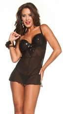 Sequin and Mesh Chemise Set