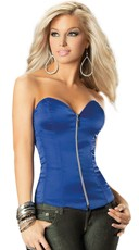Deep Plunge Satin Corset with Front Zipper