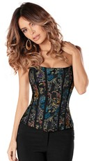 Multi-Colored Embroidered Floral Corset
