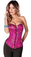 Fuchsia Sweetheart Corset with Zip Up Front