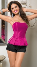 Pretty In Pink Strapless Peplum Corset