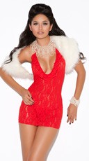 Red Deep V Lace Halter Dress