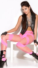 Neon Pink Diamond Net Pantyhose
