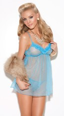 Pale Blue Babydoll And G-String