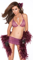 Purple Bra Top And Skirt Set