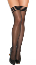 Striped Elastic Band Sheer Thigh High Stockings