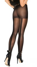 Sheer Pantyhose With Woven Lace Backseam
