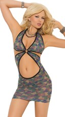 Cut Out Camouflage Chemise