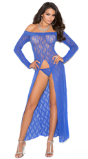 Blue Lace Gown with G-String
