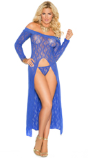 Plus Size Lace Gown with G-String