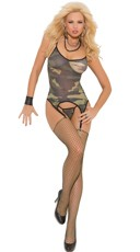 Sheer Camouflage Camisole with Attached Garters