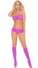 Hot Pink and Purple Striped Bra and Boyshort Set