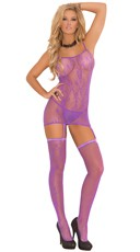 Purple Patterned Fishnet Chemise and Stockings