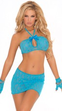 Lace Keyhole Cami, Skirt and Gloves