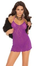 Sheer Lace Halter Chemise
