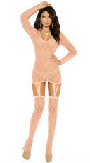 Long Sleeve Lace Chemise and Matching Stockings