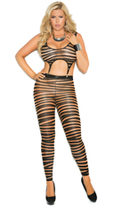 Plus Size Striped Footless Bodystocking