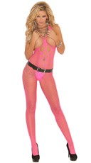 Open Bust and Crotch Diamond Net Bodystocking
