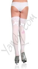 White Bow Thigh Highs