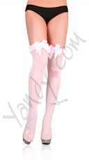 Ribbed Thigh Highs with Bow