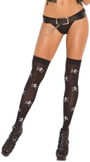 Opaque Skull Print Thigh Highs
