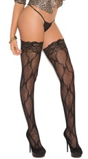 Bow Print Lace Top Thigh Highs